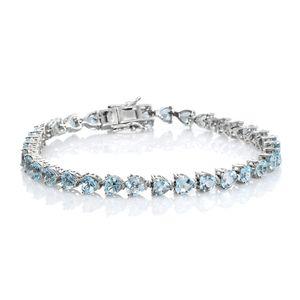 TLV Sky Blue Topaz Platinum Over Sterling Silver Bracelet (8.00 In) TGW 16.17 cts.