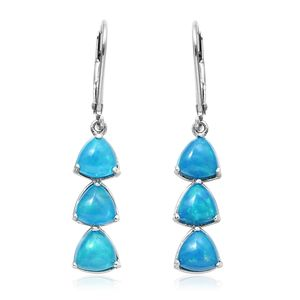Teal Ethiopian Welo opal Platinum Over Sterling Silver Lever Back Trilogy Earrings TGW 2.85 cts.