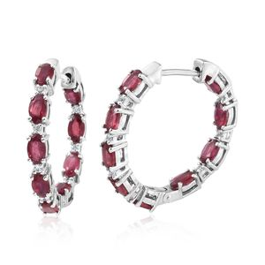 Niassa Ruby, Cambodian Zircon Platinum Over Sterling Silver Earrings TGW 4.92 cts.