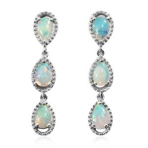 Ethiopian Welo Opal Platinum Over Sterling Silver Dangle Earrings TGW 1.50 cts.