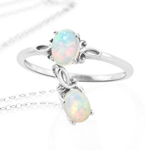 Ethiopian Welo Opal Platinum Over Sterling Silver Ring (Size 6) and Pendant With Chain (20 in) TGW 1.06 cts.