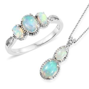 Ethiopian Welo Opal Platinum Over Sterling Silver Ring (Size 5) and Pendant With Chain (20 in) TGW 1.48 cts.