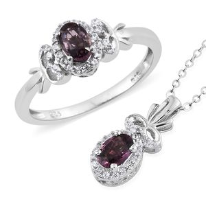 Burmese Lavender Spinel, Cambodian Zircon Platinum Over Sterling Silver Ring (Size 7) and Pendant With Chain (20 in) TGW 1.49 cts.