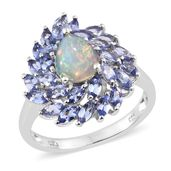 Ethiopian Welo Opal, Tanzanite Platinum Over Sterling Silver Ring (Size 9.0) TGW 3.25 cts.
