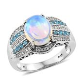 Ethiopian Welo Opal, Multi Gemstone Platinum Over Sterling Silver Ring (Size 8.0) TGW 3.62 cts.