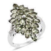 Bohemian Moldavite, Cambodian Zircon Platinum Over Sterling Silver Ring (Size 6.0) TGW 4.55 cts.