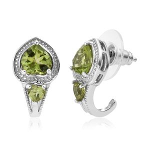 Hebei Peridot Platinum Over Sterling Silver Heart J-Hoop Earrings TGW 2.85 cts.