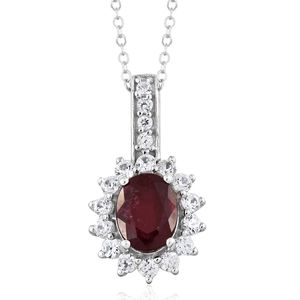 Niassa Ruby, Cambodian Zircon Platinum Over Sterling Silver Pendant With Chain (20 in) TGW 3.70 cts.