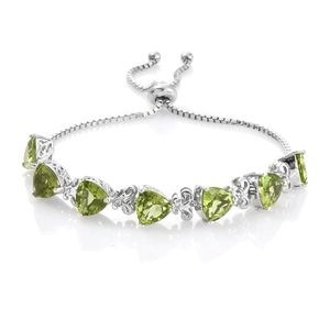 Hebei Peridot Platinum Over Sterling Silver Trillion Cut Bolo Bracelet (Adjustable) TGW 12.25 cts.