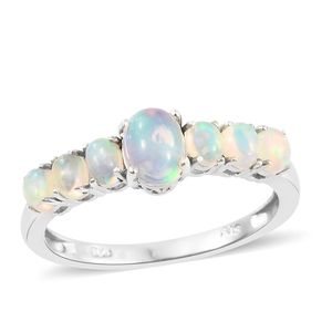 Ethiopian Welo Opal Platinum Over Sterling Silver Ring (Size 7.0) TGW 1.20 cts.