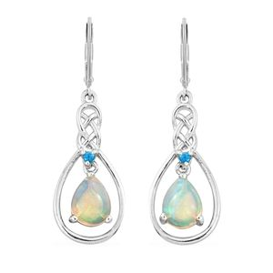 Ethiopian Welo Opal, Malgache Neon Apatite Platinum Over Sterling Silver Inner Drop Dangle Earrings TGW 1.46 cts.