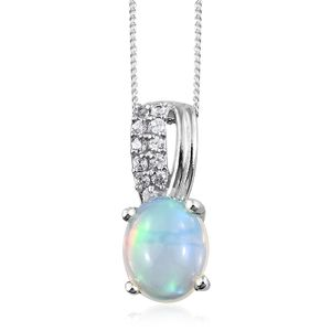 Ethiopian Welo Opal, Cambodian Zircon Platinum Over Sterling Silver Pendant With Chain (20 in) TGW 1.80 cts.