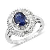 Masoala Sapphire, Cambodian Zircon Platinum Over Sterling Silver Ring (Size 8.0) TGW 4.20 cts.