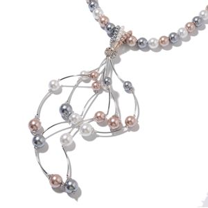 Simulated Multi Color Pearl, Simulated Multi Gems Beads, Austrian Crystal Silvertone Tassel Necklace (20-22 in) TGW 20.00 cts.