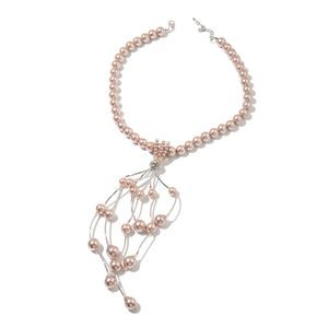 Simulated Champagne Pearl, Simulated Citrine Beads, Austrian Crystal Silvertone Tassel Necklace (20-22 in) TGW 20.00 cts.