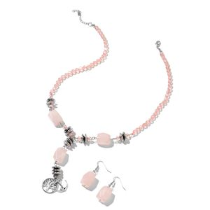 Galilea Rose Quartz, Hematite, Simulated Pink Sapphire Black Oxidized Silvertone & Stainless Steel Earrings and Necklace (18 in) TGW 241.00 cts.