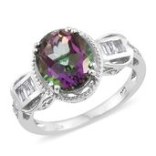 Mystic Fire Green Topaz, White Topaz Platinum Over Sterling Silver Ring (Size 5.0) TGW 5.85 cts.