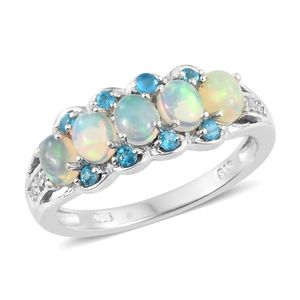 Ethiopian Welo Opal, Multi Gemstone Platinum Over Sterling Silver Ring (Size 7.0) TGW 1.25 cts.
