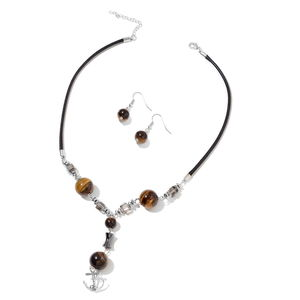 South African Tigers Eye, Hematite, Gray Glass Black Oxidized Silvertone & Stainless Steel Earrings and Anchor Charm Necklace (18 in) TGW 117.03 cts.
