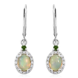 Ethiopian Welo Opal, Multi Gemstone Platinum Over Sterling Silver Lever Back Earrings TGW 1.65 cts.
