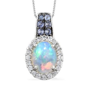 Ethiopian Welo Opal, Multi Gemstone Platinum Over Sterling Silver Pendant With Chain (20 in) TGW 1.64 cts.