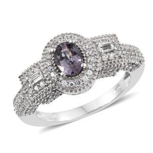 Nitin's Knockdown Deals Burmese Lavender Spinel, White Topaz, Cambodian Zircon Platinum Over Sterling Silver Ring (Size 8.0) TGW 1.94 cts.