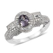 Nitin's Knockdown Deals Burmese Lavender Spinel, White Topaz, Cambodian Zircon Platinum Over Sterling Silver Ring (Size 9.0) TGW 1.94 cts.