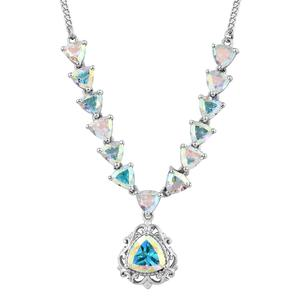 Mercury Mystic Topaz Platinum Over Sterling Silver Princess Drop Necklace (18 in) TGW 8.31 cts.