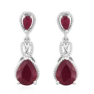 Niassa Ruby Platinum Over Sterling Silver Drop Earrings TGW 4.91 cts.