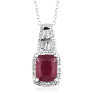 Niassa Ruby, White Topaz Platinum Over Sterling Silver Pendant With Chain (20 in) TGW 4.87 cts.