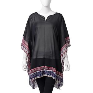 Black 100% Polyester Floral Border Sheer Poncho (One Size)