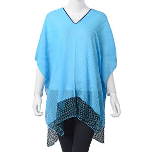 Blue 100% Polyester Summer Pleated and Lace Poncho (One Size)