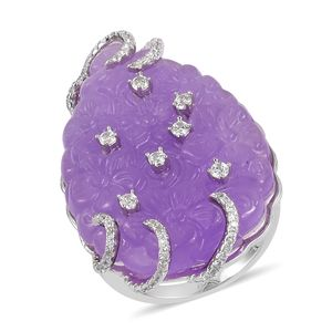 Burmese Purple Jade, White Zircon Sterling Silver Floral Carved Ring (Size 7.0) TGW 40.55 cts.