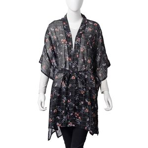 Black and Red Flower Pattern 100% Polyester Summer Kimono with Waist Band (43.31x33.46 in)