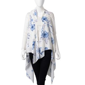 White with Blue Floral Printed 100% Polyester Spring Kimono (57.08x51.19 in)