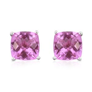 African Lilac Quartz Platinum Over Sterling Silver Stud Earrings TGW 9.30 cts.