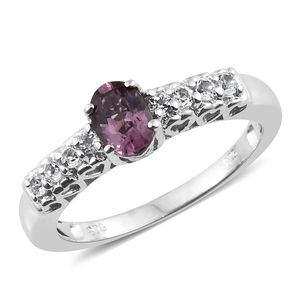 Burmese Lavender Spinel, White Topaz Platinum Over Sterling Silver Ring (Size 5.0) TGW 1.20 cts.
