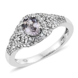 Burmese Lavender Spinel, Cambodian Zircon Platinum Over Sterling Silver Ring (Size 8.0) TGW 1.40 cts.