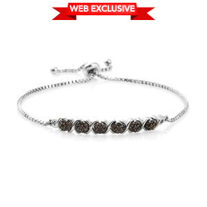 Red Diamond (IR) Platinum Over Sterling Silver Magic Ball Bracelet (Adjustable) TDiaWt 0.30 cts, TGW 0.30 cts.