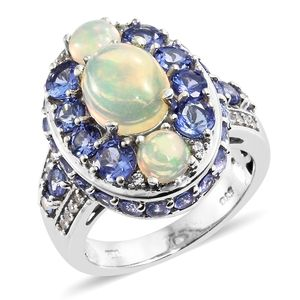 Ethiopian Welo Opal, Multi Gemstone Platinum Over Sterling Silver Ring (Size 9.0) TGW 5.79 cts.