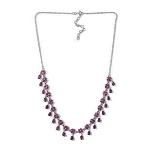 Orissa Rhodolite Garnet Platinum Over Sterling Silver Necklace (18 in) TGW 20.60 cts.