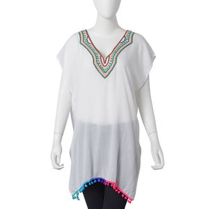 White Embroidered Pattern, Rainbow Color Pom Pom 100% Polyester Long Shape Summer V-Neckline Poncho (23.62x31.49 in)