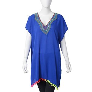 Blue Embroidered Pattern, Rainbow Color Pom Pom 100% Polyester Long Shape Summer V-Neckline Poncho (23.62x31.49 in)