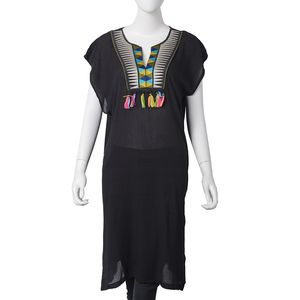 Black 100% Polyester Dress with Multi Color Tassels (39x23 in)