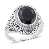 Bali Legacy Collection Thai Black Spinel, White Zircon Sterling Silver Ring (Size 9.0) TGW 6.08 cts.