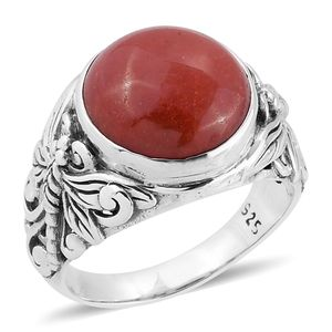 Bali Legacy Collection Burmese Red Jade Sterling Silver Ring (Size 7.0) TGW 9.48 cts.