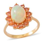 Ethiopian Welo Opal, Dark Orange Sapphire Yellow Rhodium Over Sterling Silver Ring (Size 8.0) TGW 4.00 cts.