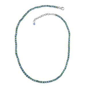 Tanzanite, Russian Diopsode Platinum Over Sterling Silver Beads Necklace (18 in) TGW 45.60 cts.