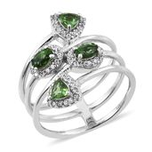 Emeraldine Apatite, Cambodian Zircon Platinum Over Sterling Silver Spring Bypass Ring (Size 5.0) TGW 1.56 cts.