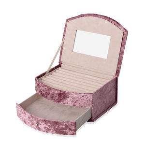 Pink Purple Velvet, Resin Stone 2 Layer Fan-Shape Jewelry Box with Mirroe and Removable Drawer (8.3x6.7x3.5 in)
